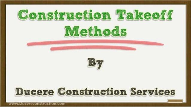 Construction takeoff-methods