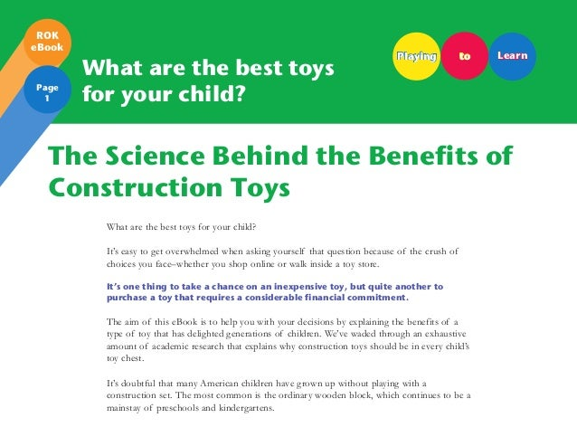 Benefits Of Building Toys : The benefits of construction toys