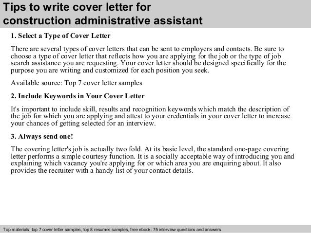 3 tips to write cover letter for construction administrative assistant. Resume Example. Resume CV Cover Letter