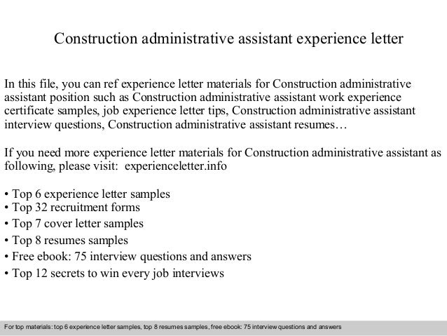 construction administrative assistant experience letter in this file you can ref experience letter materials for