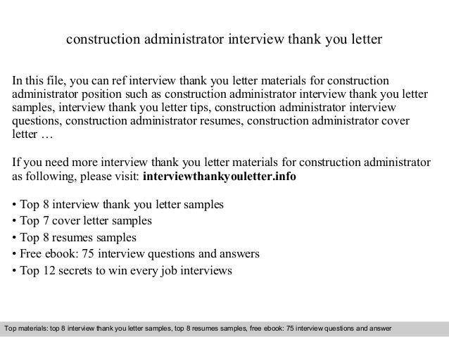 Superior Construction Administrator Interview Thank You Letter In This File, You Can  Ref Interview Thank You ...