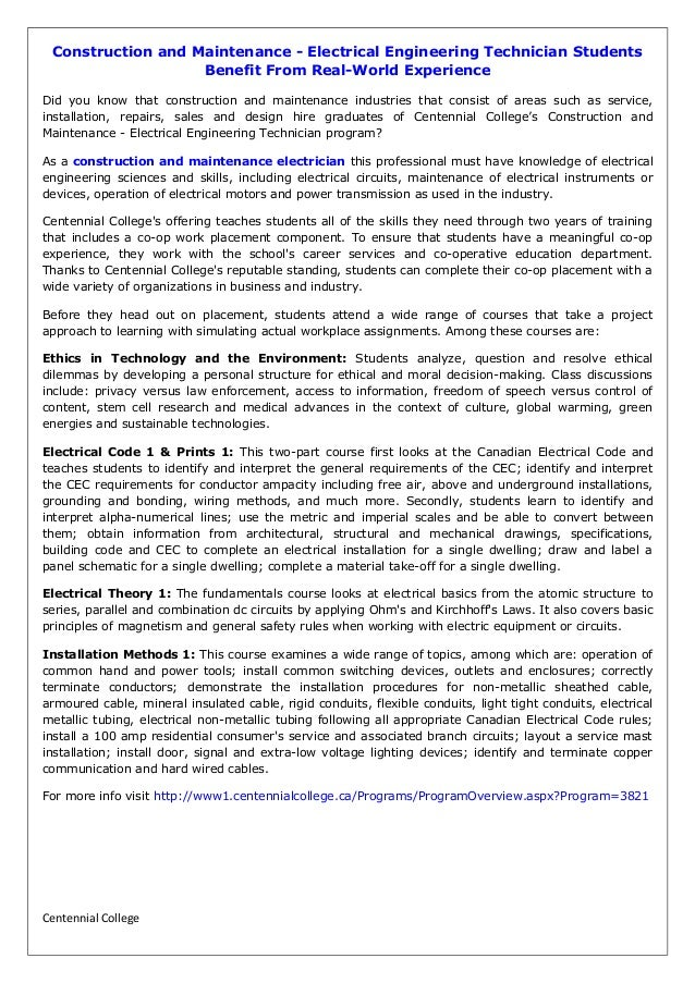 Construction and Maintenance - Electrical Engineering Technician Stud…