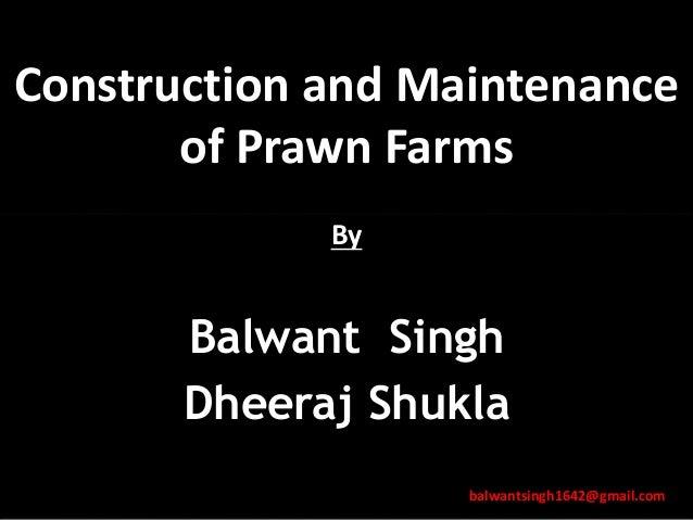 Construction and Maintenance of Prawn Farms By Balwant Singh Dheeraj Shukla balwantsingh1642@gmail.com