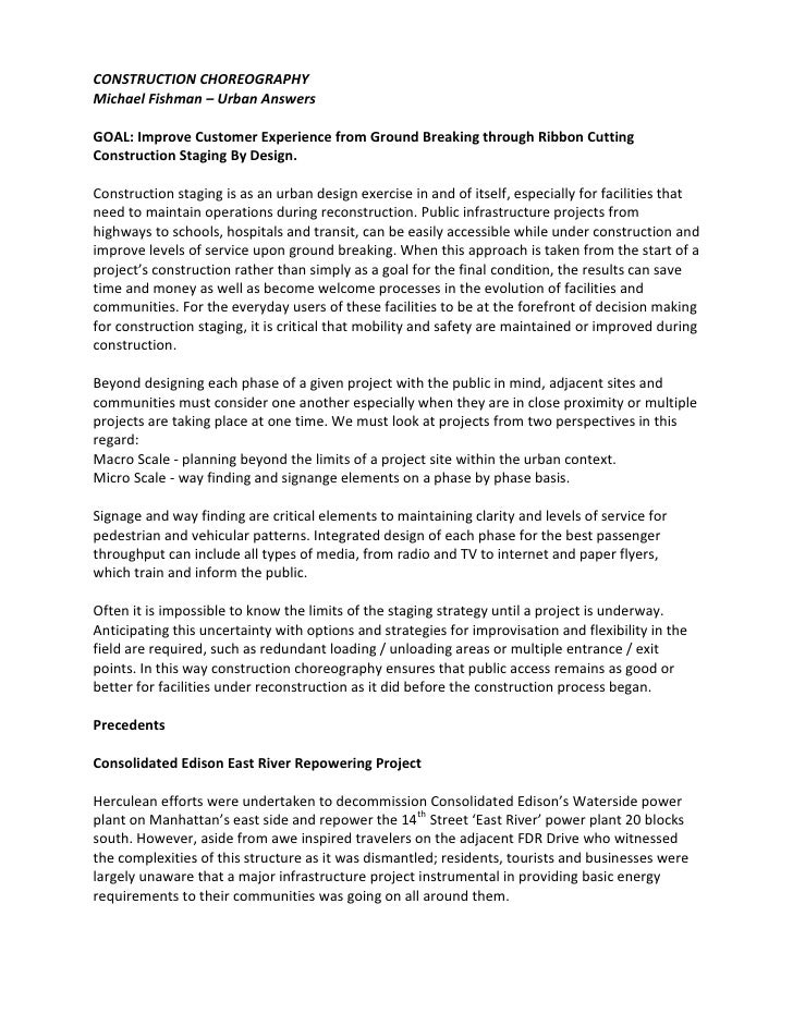 CONSTRUCTION CHOREOGRAPHY Michael Fishman – Urban Answers  GOAL: Improve Customer Experience from Ground Breaking through ...
