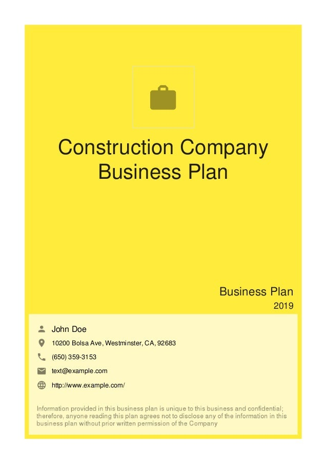 business plan for construction firms