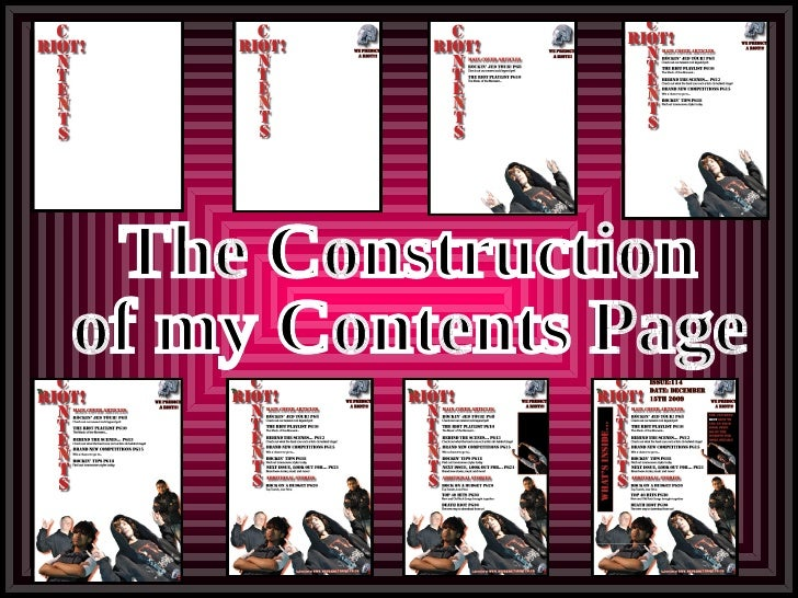 The Construction of my Contents Page