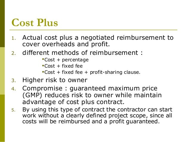 Construction contracts docuements 08092008 for Cost plus contract example