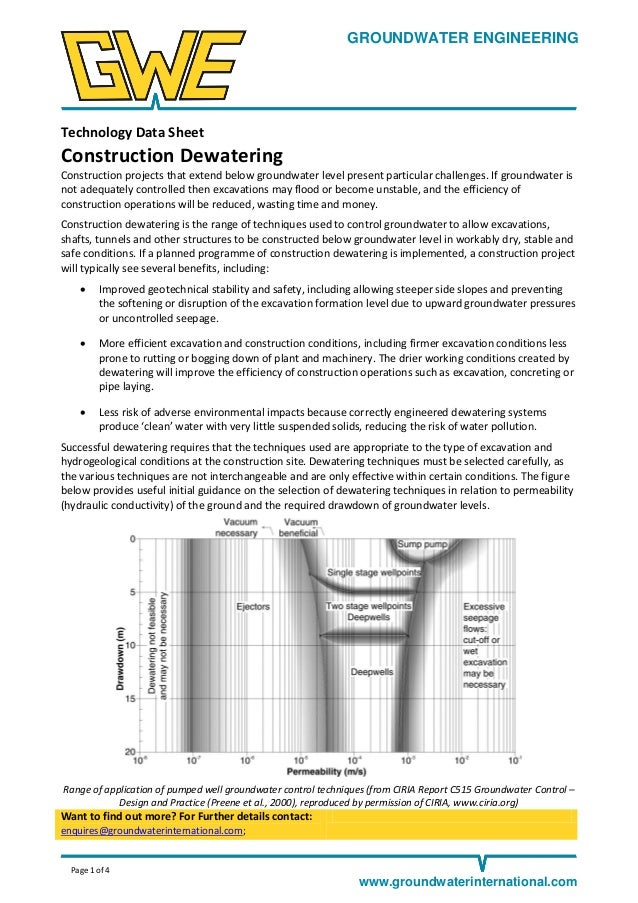 GROUNDWATER ENGINEERING  Technology Data Sheet  Construction Dewatering Construction projects that extend below groundwate...