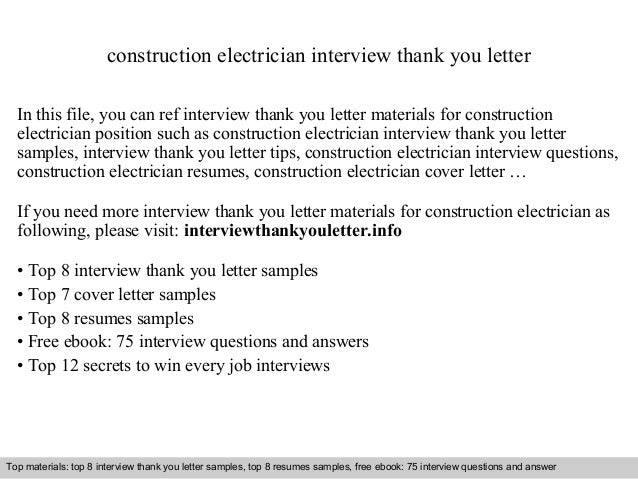 Construction Electrician Interview Thank You Letter In This File, You Can  Ref Interview Thank You ...