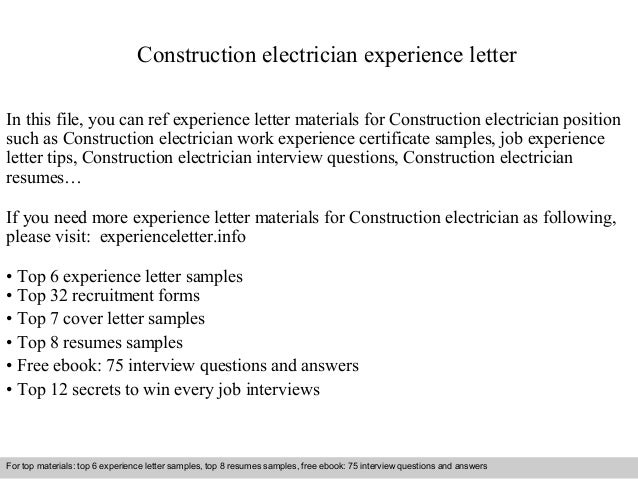 Construction Electrician Experience Letter In This File, You Can Ref  Experience Letter Materials For Construction ...