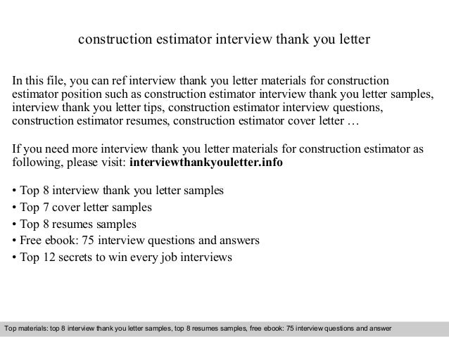 Sample Construction Estimator Cover Letter