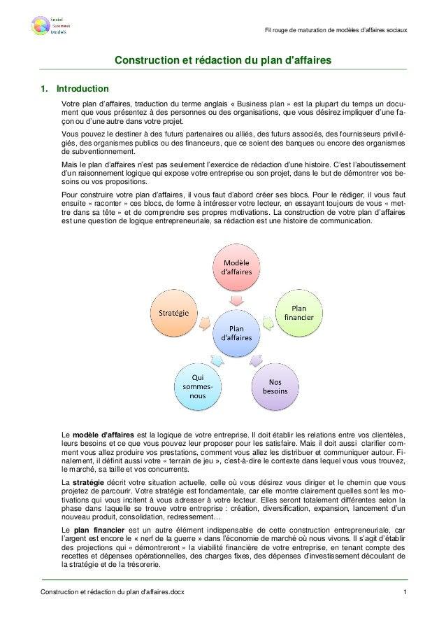 Fil rouge de maturation de modèles d'affaires sociaux Construction et rédaction du plan d'affaires.docx 1 Construction et ...
