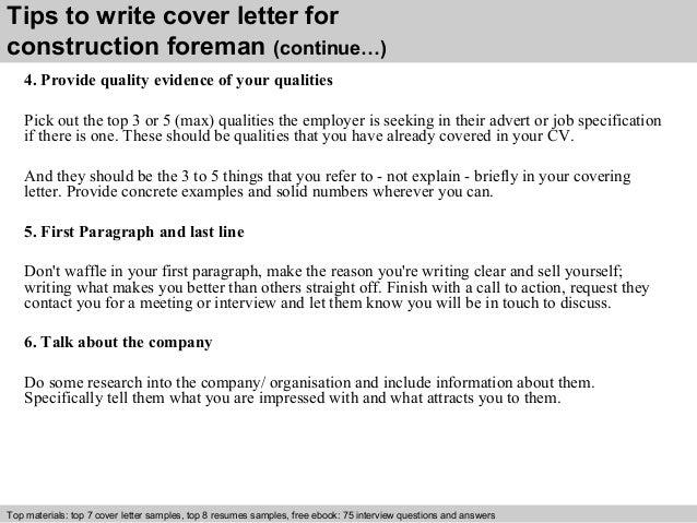 Construction Foreman Resume Cover Letter. resume sample 20 ...