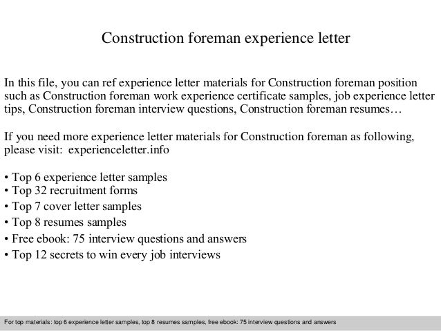construction foreman experience letter in this file you can ref experience letter materials for construction