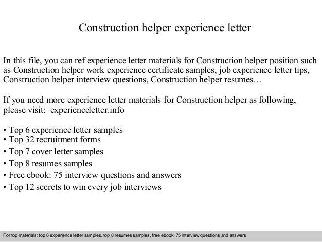 Construction Helper Experience Letter