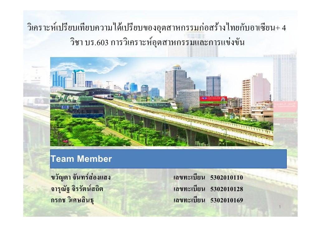 วิเคราะหเปรียบเทียบความไดเปรียบของอุตสาหกรรมกอสรางไทยกับอาเซียน+ 4              วิชา บร.603 การวิเคราะหอุตสาหกรรมและก...