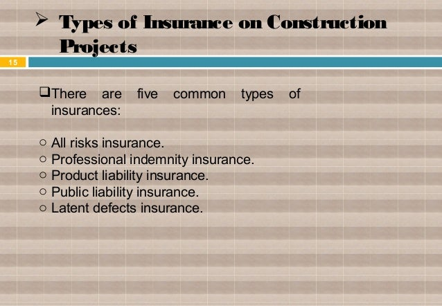 Construction insurance for Construction types for insurance