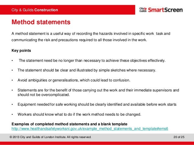 Construction Method Statement Template Construction Costblank