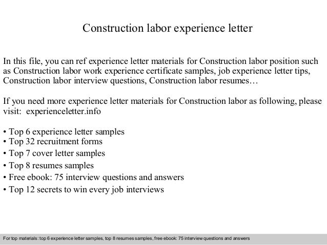 Construction Labor Experience Letter In This File, You Can Ref Experience  Letter Materials For Construction