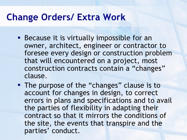 Change Orders/ ...