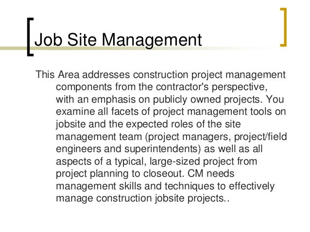 on site construction management pdf