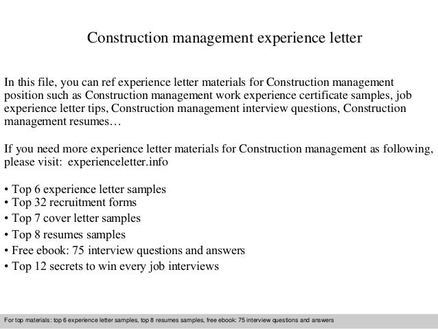Construction management experience letter 1 638gcb1409830880 construction management experience letter in this file you can ref experience letter materials for construction experience letter sample spiritdancerdesigns Image collections