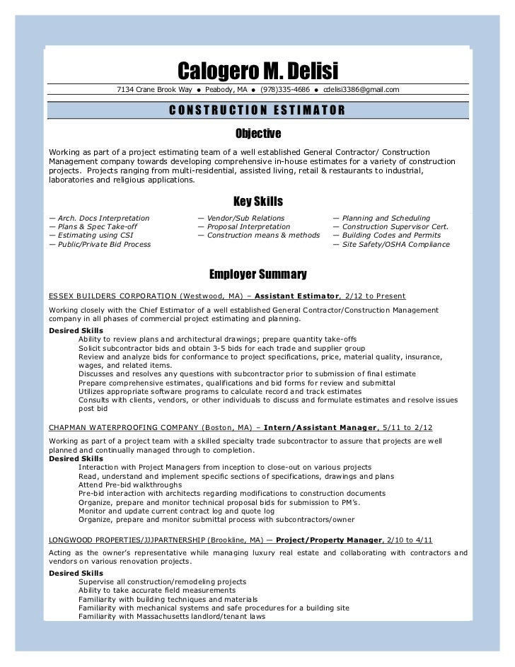 Construction management resume writing services