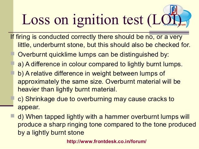 Loss On Ignition : Construction material lime