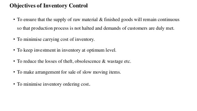 objective in inventory The ability of a coal-fired power station to meet its generation targets is influenced by periods of coal shortage in this article, we propose a multi- objective inventory model to assist with the management of coal stockpiles the model is applicable to power utilities with a network of two or more coal-fired power stations.