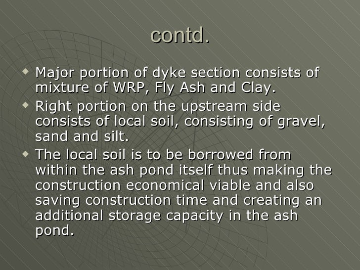 Construction of an ash pond with wrp for Design of ash pond