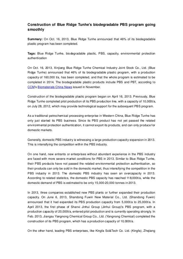 Construction of Blue Ridge Tunhe's biodegradable PBS program going smoothly Summary: On Oct. 16, 2013, Blue Ridge Tunhe an...