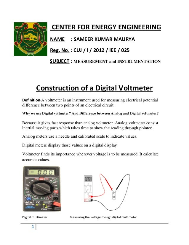 Concept Of Voltmeter : Construction of digital voltmeter