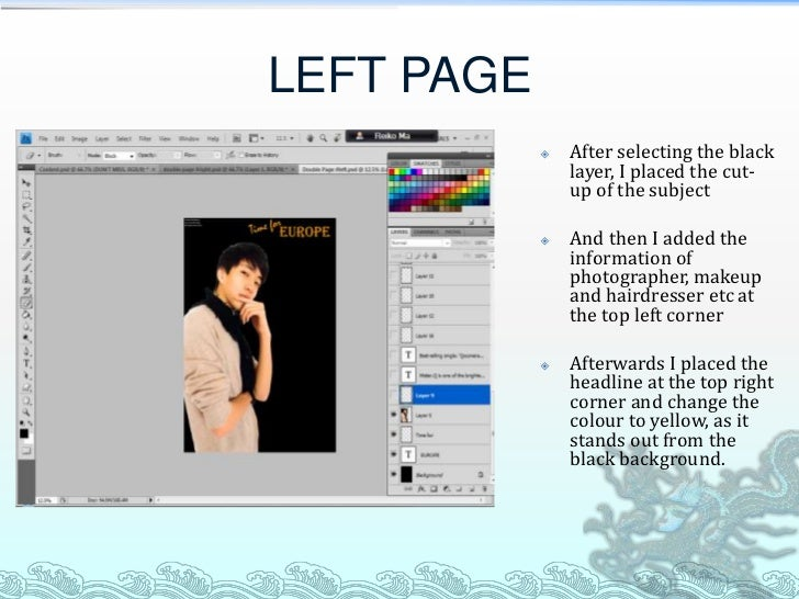LEFT PAGE               After selecting the black                layer, I placed the cut-                up of the subjec...