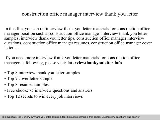 Construction office manager construction office manager interview thank you letter in this file you can ref interview thank expocarfo Images