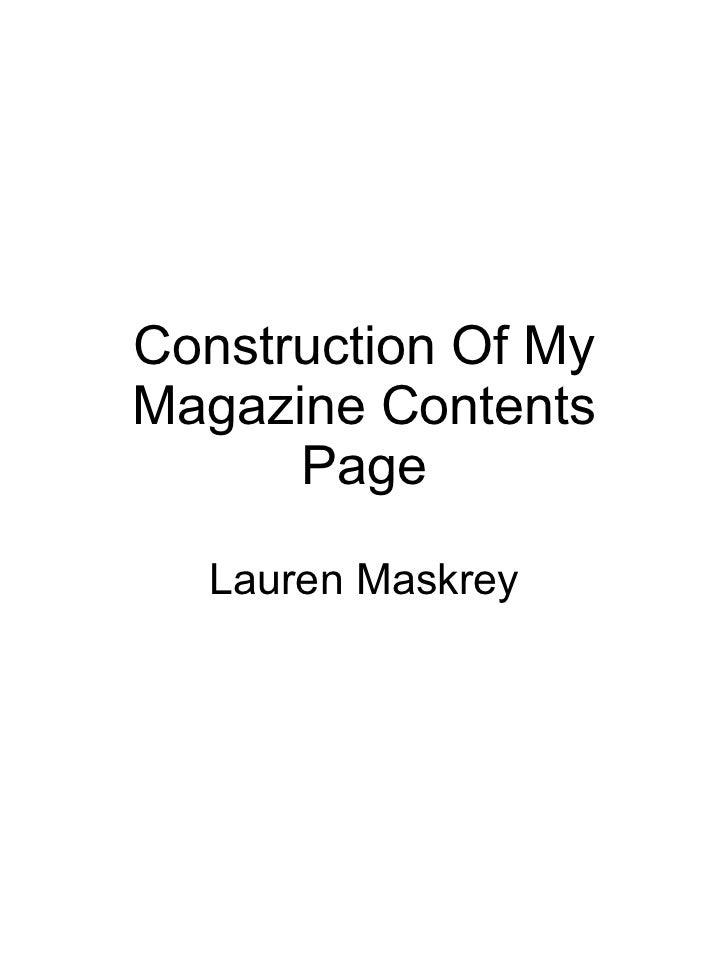 Construction Of My Magazine Contents Page Lauren Maskrey