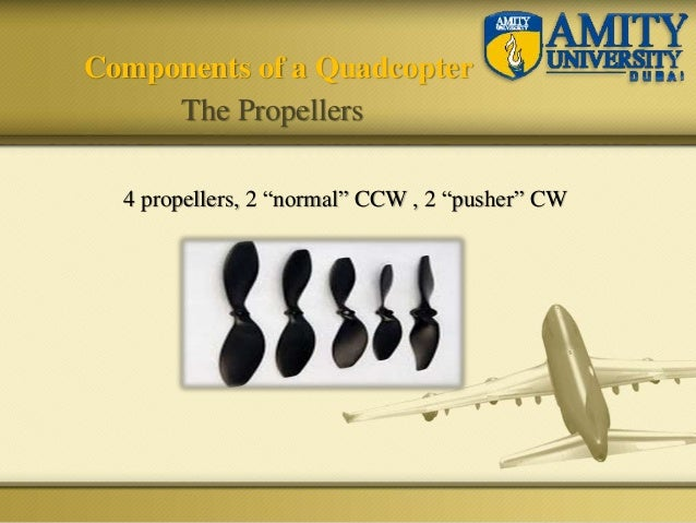 """4 propellers, 2 """"normal"""" CCW , 2 """"pusher"""" CW Components of a Quadcopter The Propellers"""