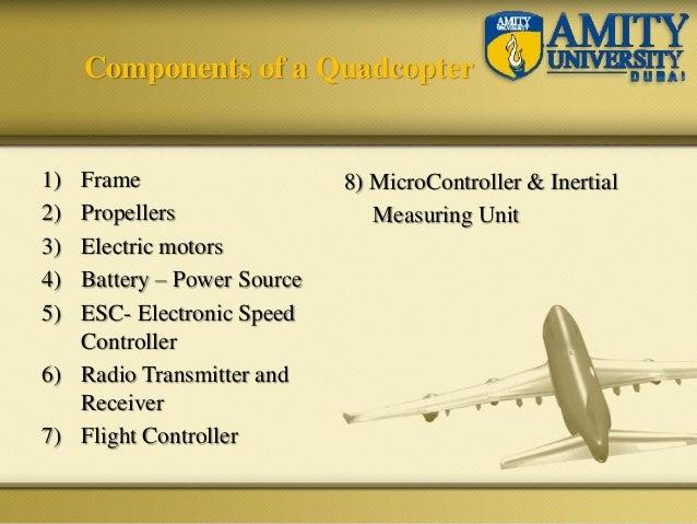 1) Frame 2) Propellers 3) Electric motors 4) Battery – Power Source 5) ESC- Electronic Speed Controller 6) Radio Transmitt...