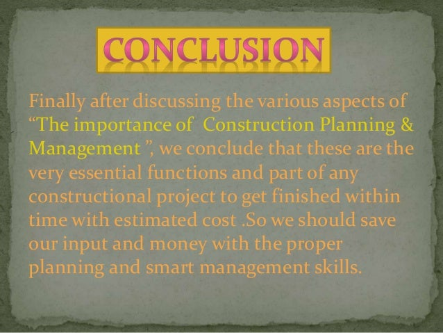 importance of planning in construction