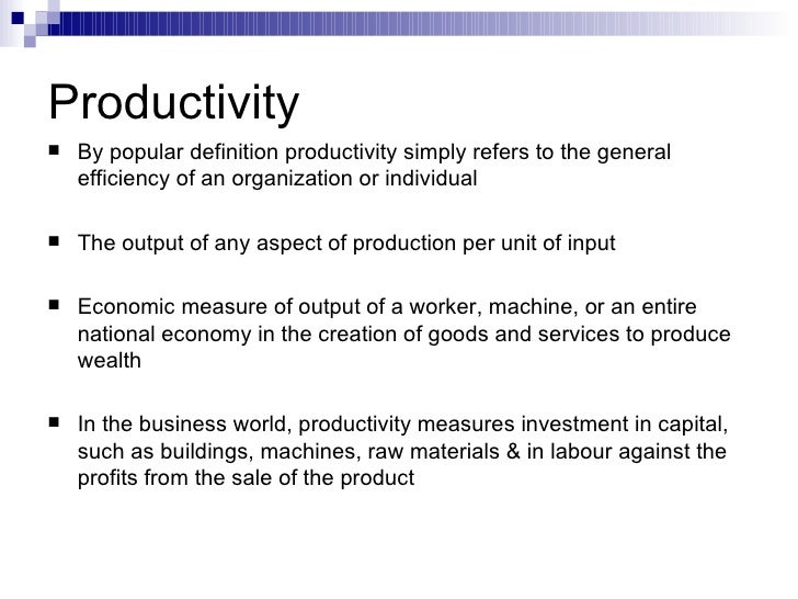 Essay on Productivity