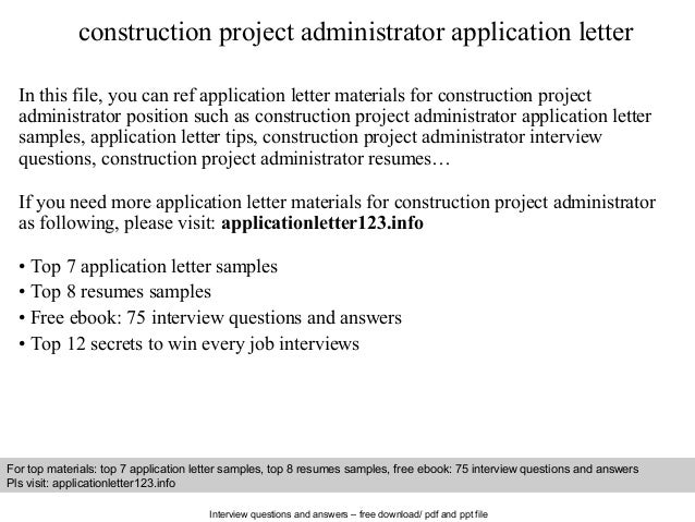 Construction project administrator application letter for Building materials that start with i