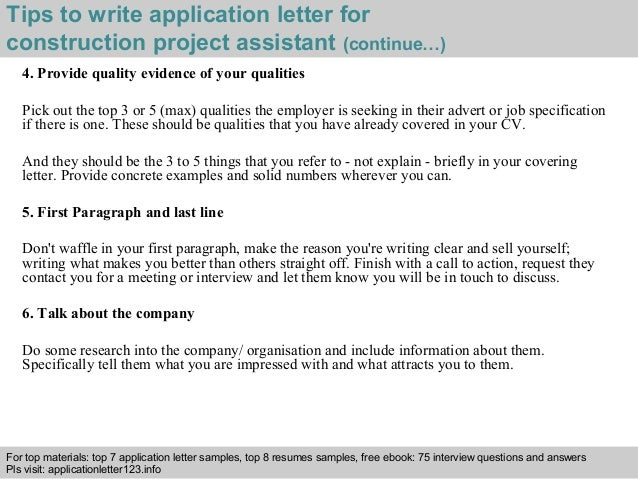 Construction project assistant application letter