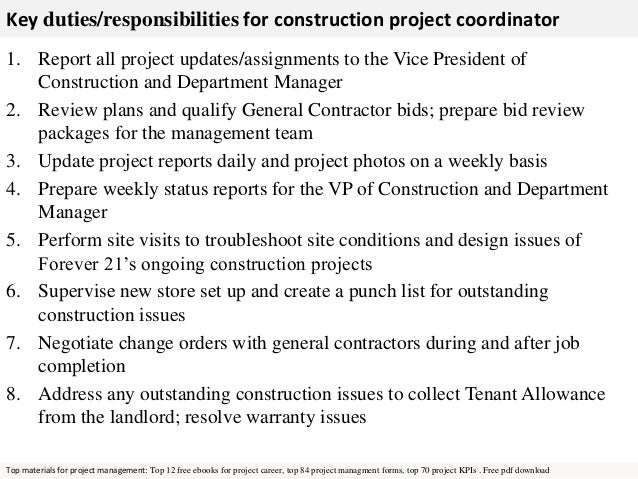 Construction project coordinator – Construction Project Manager Job Description