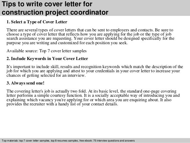 Construction project coordinator cover letter