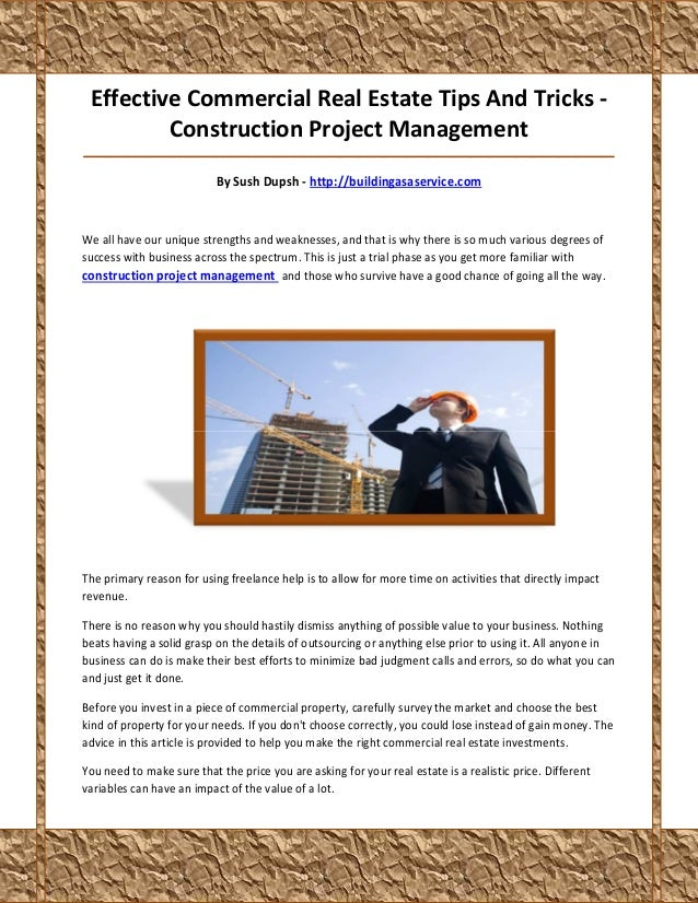 Effective Commercial Real Estate Tips And Tricks -         Construction Project Management________________________________...