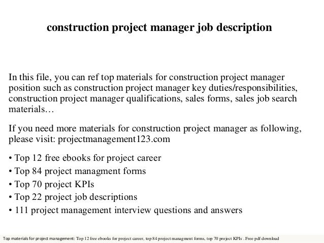 Construction Project Manager Job Description In This File, You Can Ref Top  Materials For Construction ...