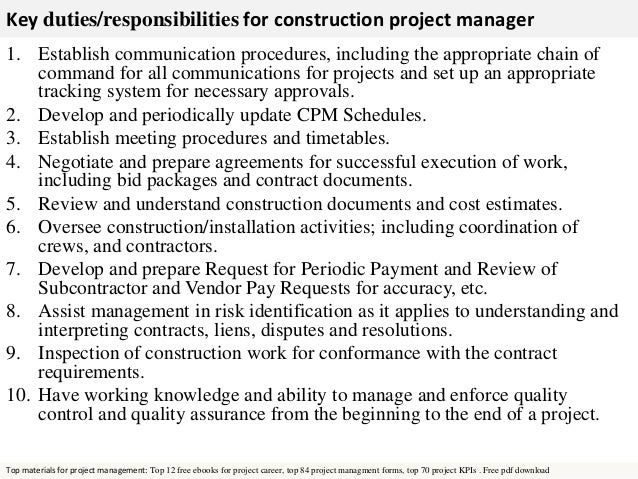 Free Pdf Download; 2. Key Duties/responsibilities For Construction Project  Manager ...