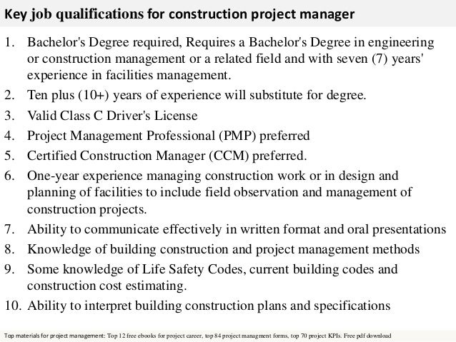 Marvelous Free Pdf Download; 3. Key Job Qualifications For Construction Project  Manager ...