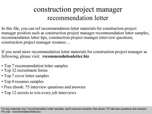 Recommendation Letter For Project Manager Job