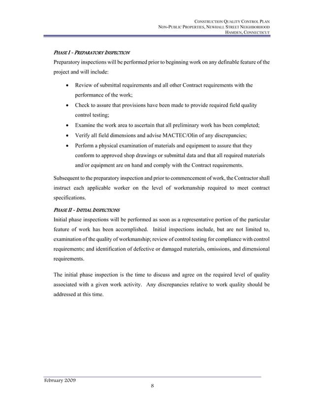 CONSTRUCTION QUALITY CONTROL PLAN NON-PUBLIC PROPERTIES, NEWHALL STREET NEIGHBORHOOD HAMDEN, CONNECTICUT February 2009 8 P...