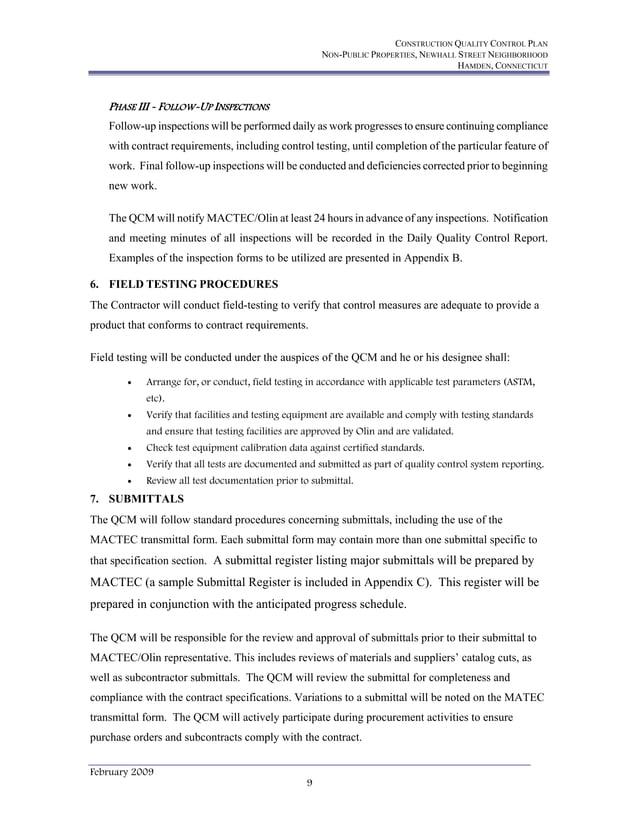 CONSTRUCTION QUALITY CONTROL PLAN NON-PUBLIC PROPERTIES, NEWHALL STREET NEIGHBORHOOD HAMDEN, CONNECTICUT February 2009 9 P...